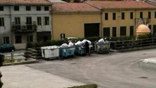 Una donna intenta a rovistare nei cassonetti dei rifiuti a Chiampo.  E.D.